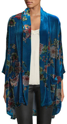 Johnny Was Vivian Printed Velvet Kimono Jacket, Plus Size