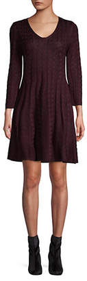 Eliza J Cable-Knit Fit--Flare Dress