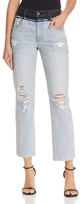 Alexander Wang Cult Duo Crop Straight Jeans in Bleach/Gray
