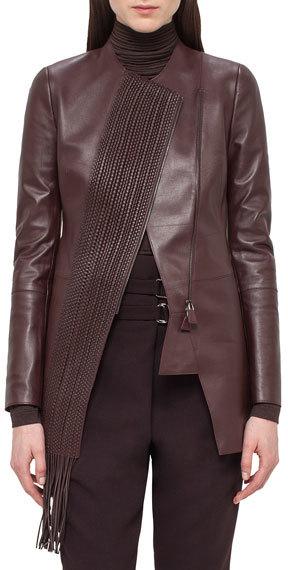 AkrisAkris Woven-Panel Leather Long Jacket, Aubergine