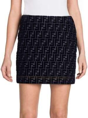 Fendi Denim Velvet Logo Mini Skirt