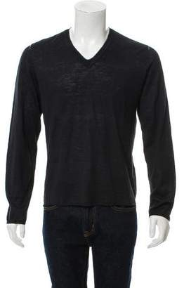 John Varvatos Woven V-Neck Sweater