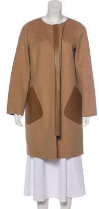Lafayette 148 Leather-Accented Camel-Blend Coat