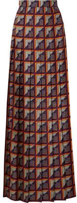 Gucci Pleated Printed Silk-twill Maxi Skirt - Blue