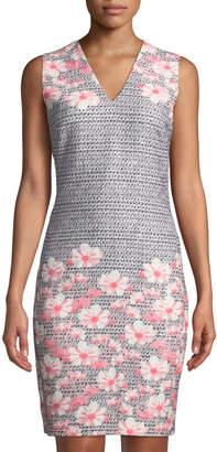 Karl Lagerfeld Paris Floral Print V-Neck Sheath Dress
