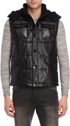 Lth Jkt Hooded Leather Puffer Vest