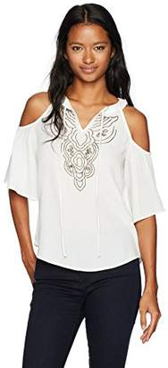 Amy Byer A. Byer Women's Cold Shoulder Beaded Tie Front Top