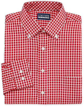 STAFFORD Stafford Poly Span Long Sleeve Woven Gingham Dress Shirt