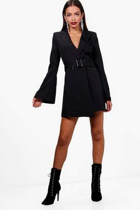 boohoo Boutique Amy Flared Sleeve Belted Blazer Dress
