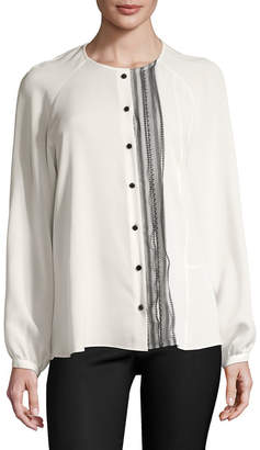 Derek Lam 10 Crosby Derek Lam Silk Lace Placket Blouse