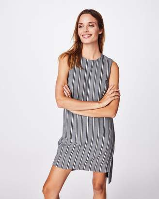 Nicole Miller Stretch Woven Stripe Shift Dress
