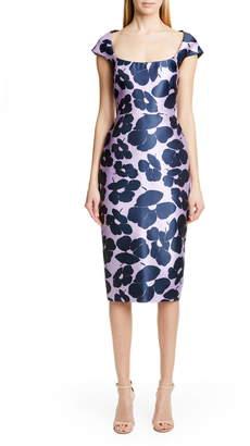 Lela Rose Floral Print Silk Blend Sheath Dress