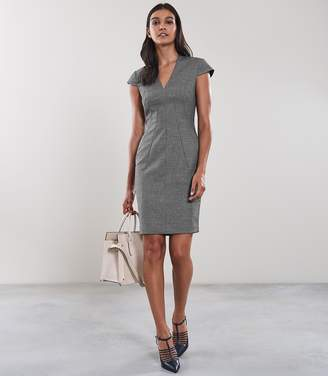 Reiss ALBER DRESS CAP SLEEVED TAILORED DRESS Grey