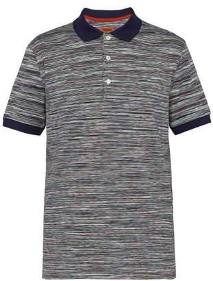 Missoni Multicoloured Stripe Cotton Polo T Shirt - Mens - Blue Multi