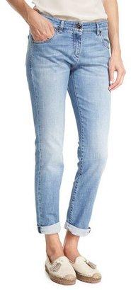 Brunello Cucinelli Light Denim Slim-Leg Jeans w/Rolled Hem, Blue $925 thestylecure.com