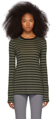Alexander Wang Khaki Striped Slub Long Sleeve T-Shirt