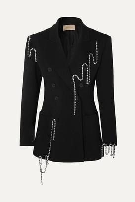 Christopher Kane Squiggle Crystal-embellished Double-breasted Twill Blazer - Black