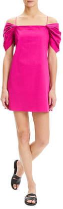 Theory Cold-Shoulder Draped-Sleeve Mini Chino Dress