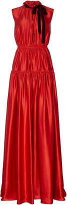 Roksanda Giona Tie-Detailed Tiered Silk-Satin Gown Size: 6