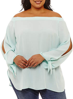 BELLE + SKY Split Sleeve Off Shoulder Blouse - Plus