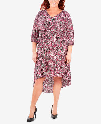 NY Collection Plus Size Printed High-Low Maxi Dress
