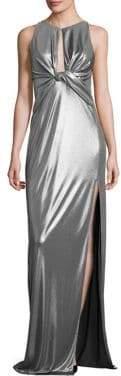 Halston Metallic Jersey Cutout Gown