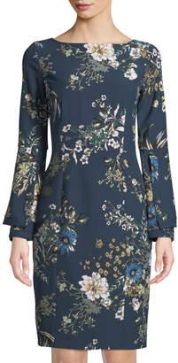 Tahari ASL Floral Print Bell-Sleeve Sheath Dress