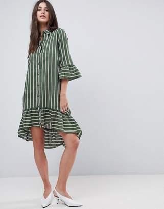 Vila Stripe Shirt Dress With Ruffle Hem