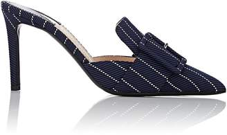 Altuzarra Women's Buckle-Strap Pinstriped Fabric Mules