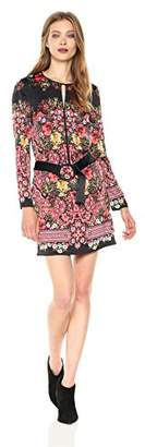 Laundry by Shelli Segal Women's Placement Printed Floral Satin Shift with O Belt