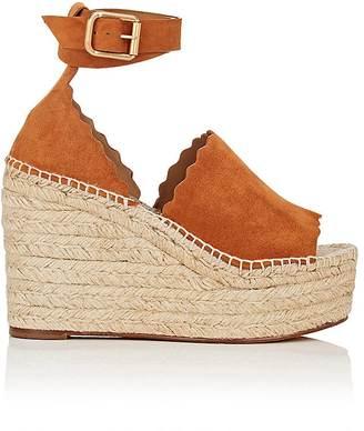 Chloé Women's Lauren Suede Espadrille Sandals $660 thestylecure.com