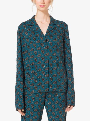 Michael Kors Gem-Embroidered Paisley Georgette Pajama Shirt