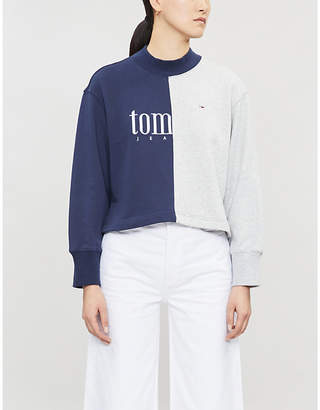 Tommy Jeans Contrasting-panel cotton-jersey sweatshirt