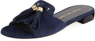 Stuart Weitzman Suede Open-Toe Slide Sandal with Tassels
