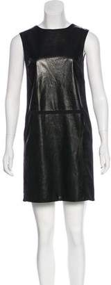 Vince Leather-Accented Mini Dress