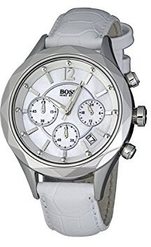 Hugo Boss Ladies Quartz Watch with Mother Of Pearl Dial Chronograph Display and White Leather Strap 1502167 $169 thestylecure.com