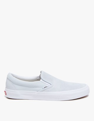 Suede/Canvas Classic Slip-On in Illusion Blue $55 thestylecure.com