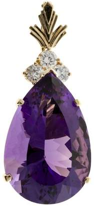 14K Yellow Gold with 27.00ct Reddish Purple Amethyst & Diamond Enhancer Pendant