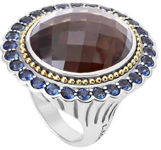 Lagos Statement Rings 18K & Silver 3.30 Ct. Tw. Sapphire & Smokey Quartz Ring