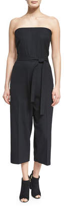 McQ Alexander McQueen Belted Strapless Jumpsuit, Black $630 thestylecure.com