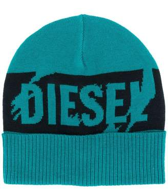 Diesel intarsia logo knitted beanie 8c19826ff8d