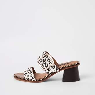 31544b188495 River Island Womens White leather leopard print block heel mules