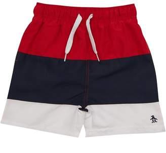 5cbbe7a9 Original Penguin Boys Colour Block Swim Shorts Lipstick Red