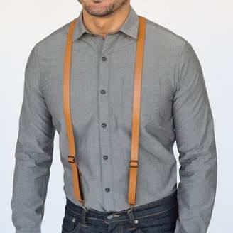 Blade + Blue Tan Leather Skinny Suspenders with Metal Hook Closure