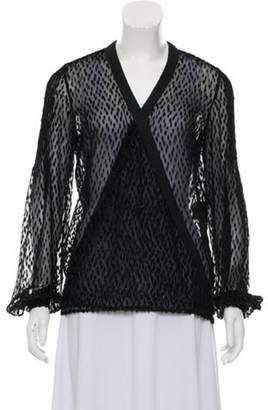 Salvatore Ferragamo Semi-Sheer Silk-Blend Cardigan Black Semi-Sheer Silk-Blend Cardigan