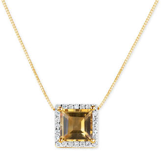 Macy's Citrine (1-3/4 ct. t.w.) and Diamond (1/6 ct. t.w.) Pendant Necklace in 14k Gold