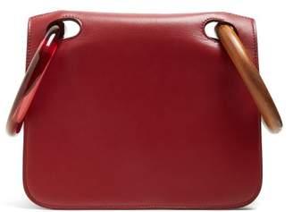Roksanda - Neneh Wooden Handle Leather Clutch - Womens - Burgundy Multi