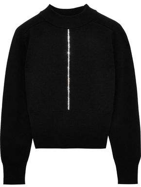 Christopher Kane Cropped Crystal-embellished Wool Sweater