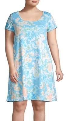 Miss Elaine Plus Floral Cotton Blend Sleep Shirt