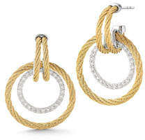 Alor Double Cable Diamond Hoop Drop Earrings